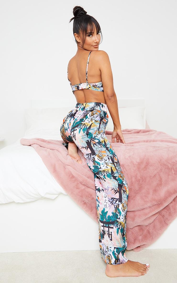 Black Floral Tiger Satin Triangle Bralet And Trouser PJ Set 2