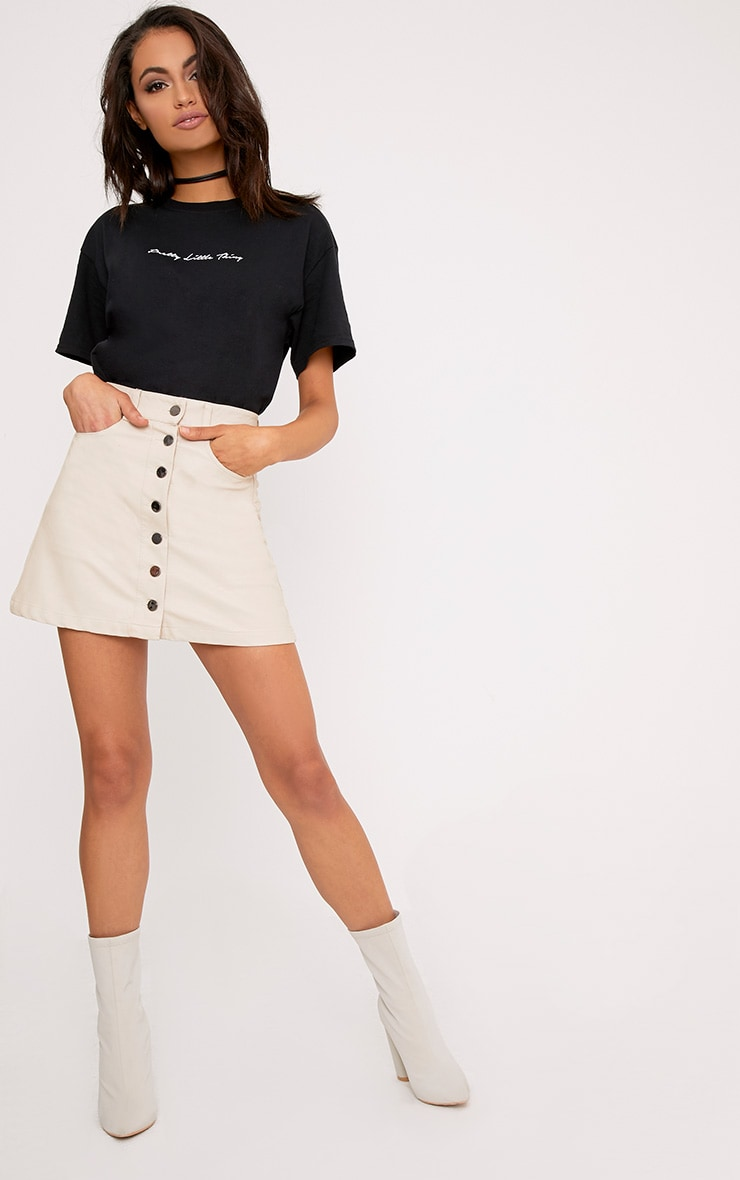 Ayanna Nude Faux Leather Button A-Line Mini Skirt 5