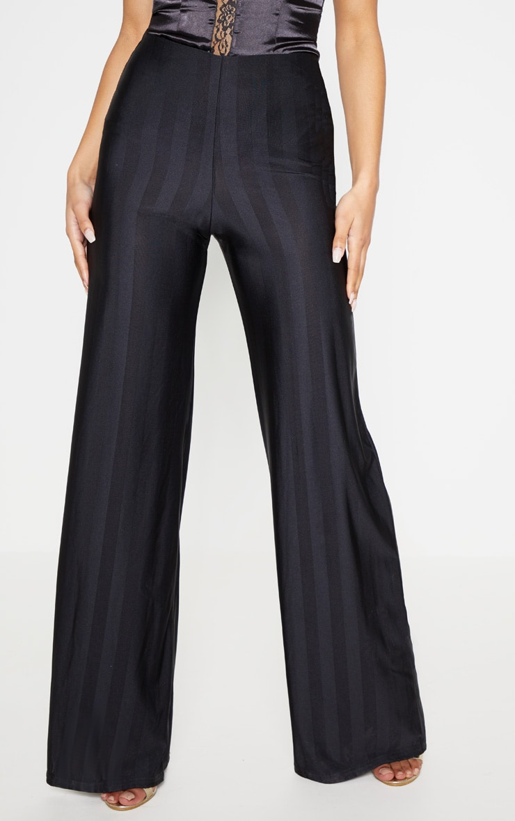 Black Disco Stripe Casual Wide Leg Trouser 2