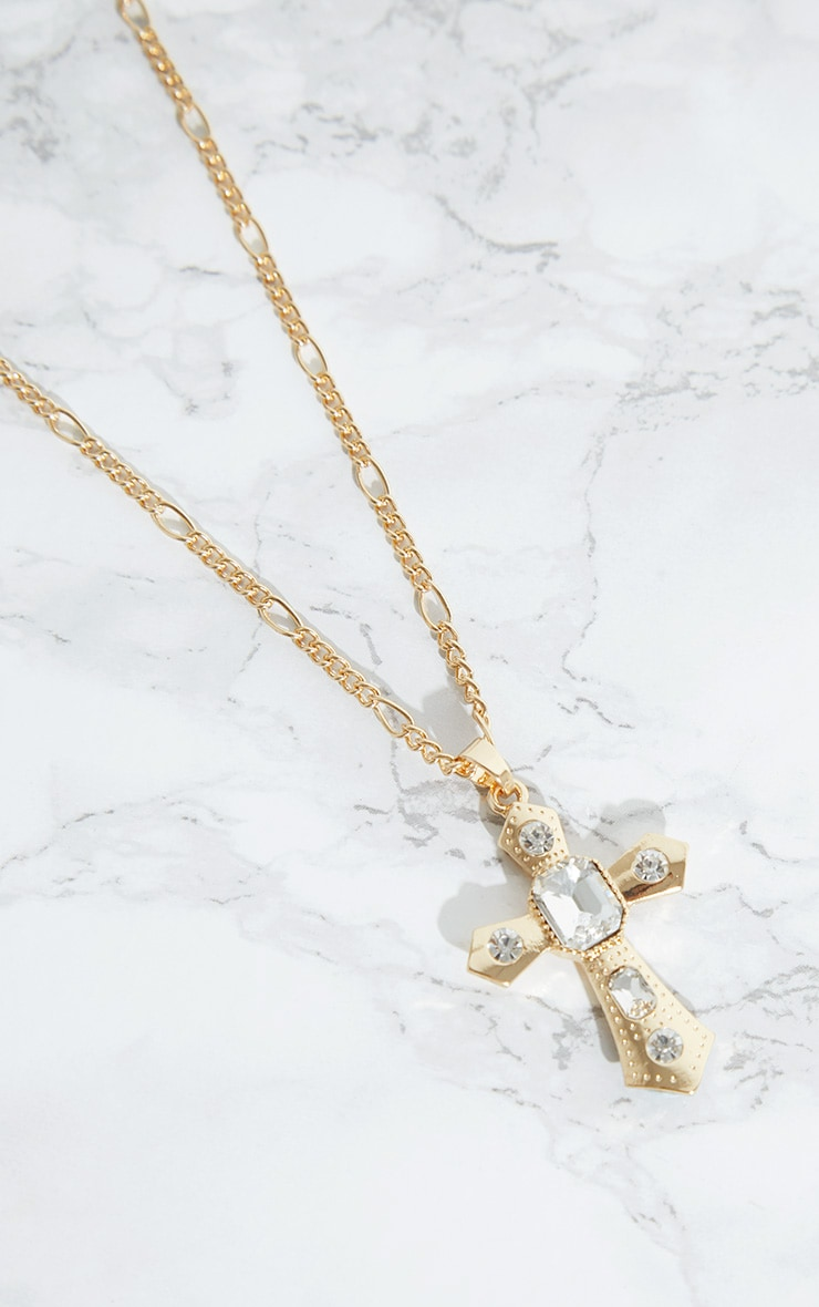 Gold Diamante Cross Necklace 3