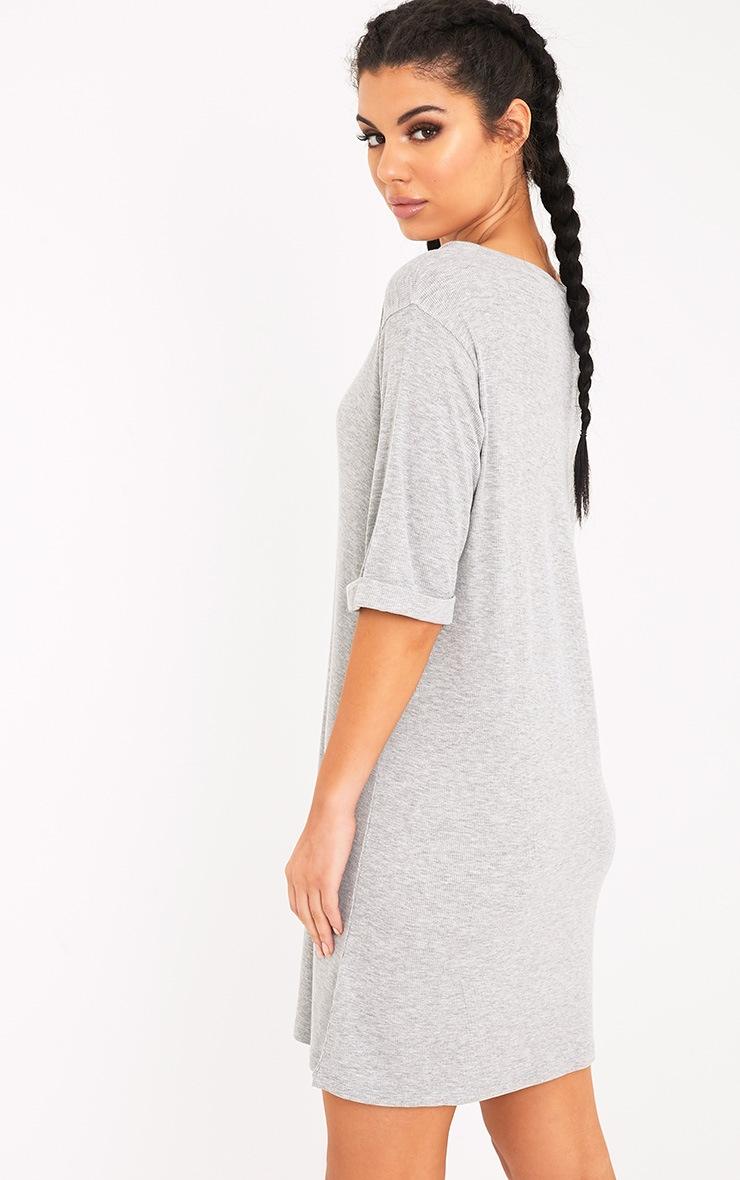 Kannah Grey Ribbed Roll Sleeve Oversized T Shirt Dress 2