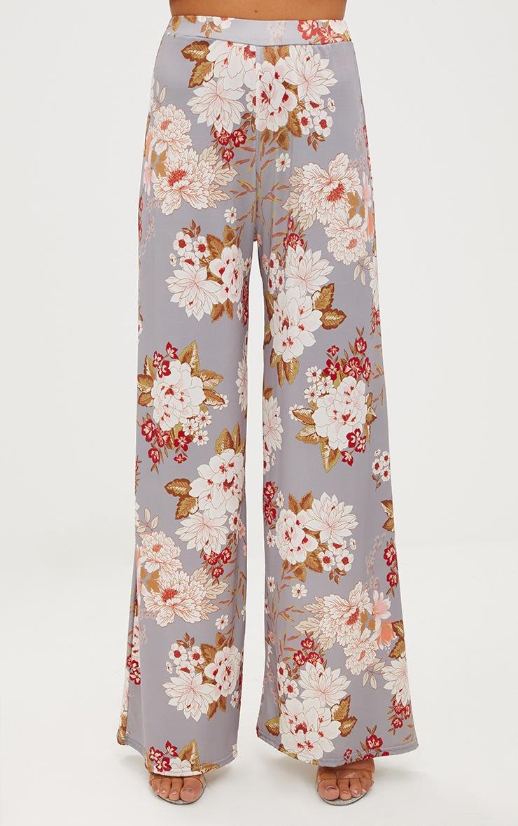 Grey Floral Print Slinky Wide Leg Trousers 2
