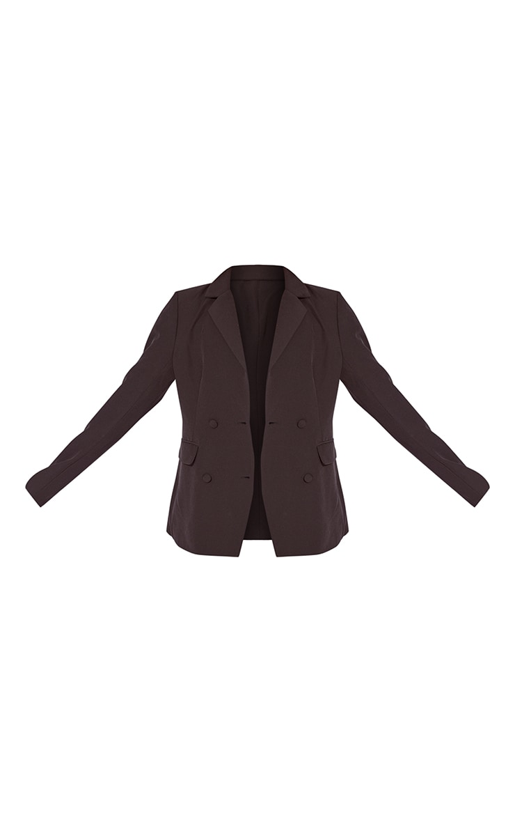 Black Double Breasted Covered Button Blazer 5
