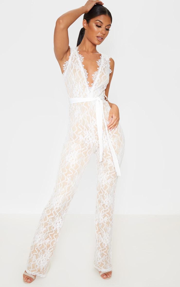 White Lace Contrast Plunge Jumpsuit 1