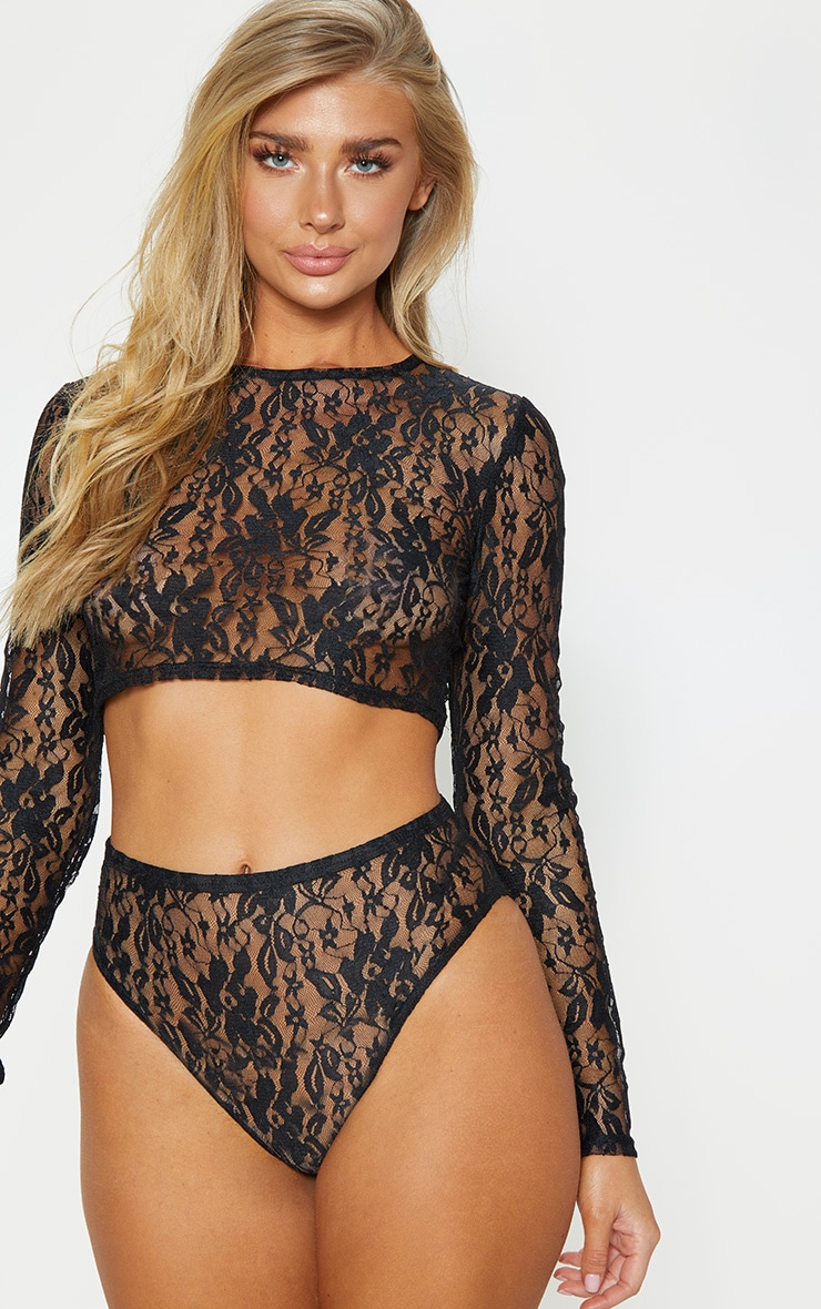 Black Lace Crop Top And Knicker Set 1