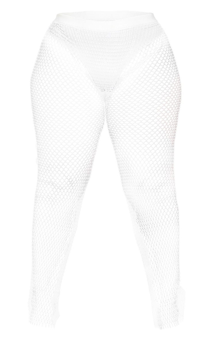 Plus White Mesh Diamante Wide Leg Pants 3