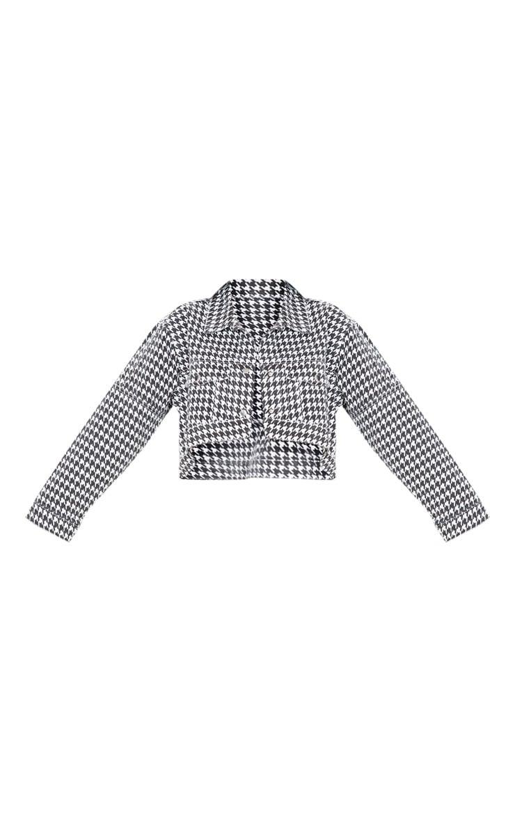 Monochrome Houndstooth Check Denim Jacket  3