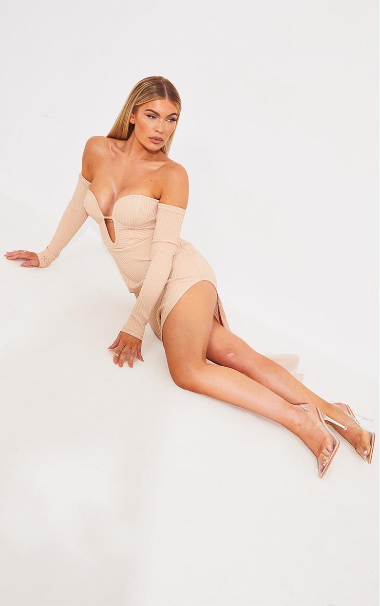 Nude Bandage Ribbed Bardot Plunge Midaxi Dress 3
