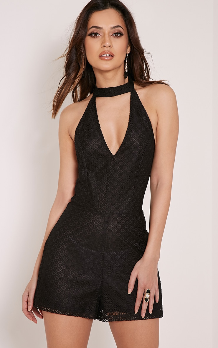 Dani Black Neck Detail Lace Playsuit 1