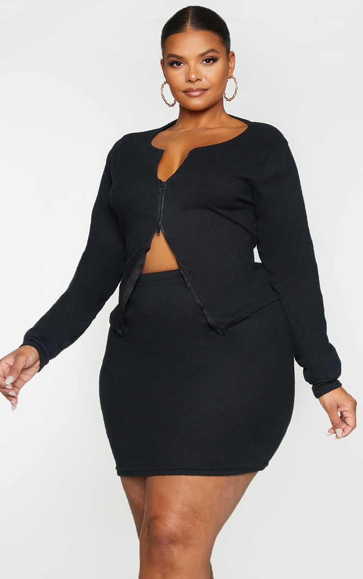 Plus Black Soft Brushed Rib Double Zip Front Top 1
