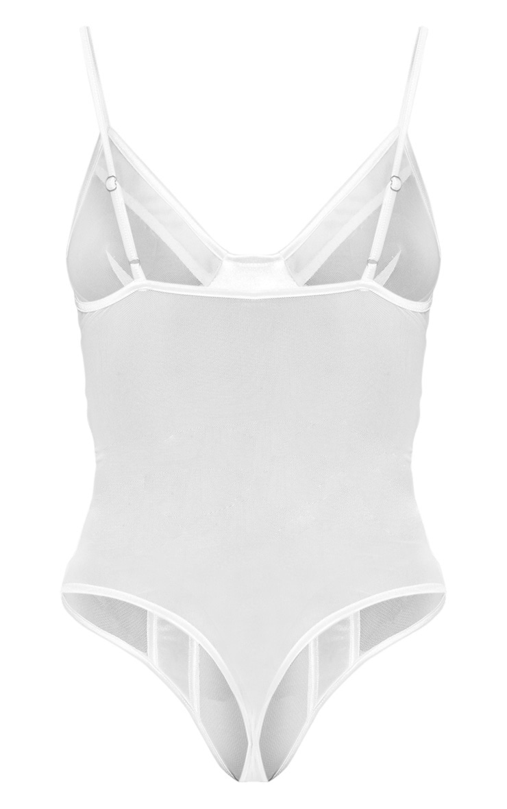 White Satin Panel Mesh Body 4