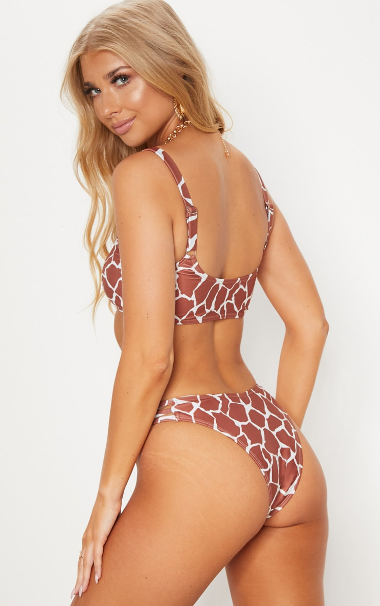 Brown Giraffe Print Padded Scoop Neck Bikini Top 2