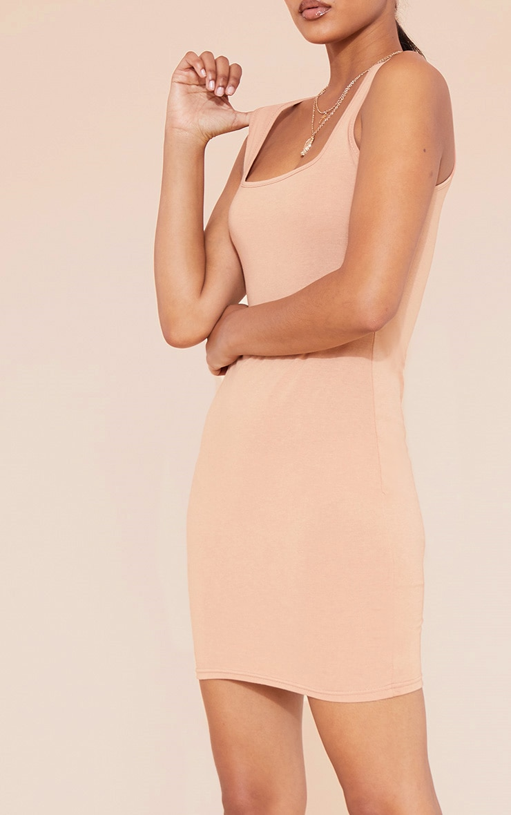 RECYCLED Pale Tan Square Neck Sleeveless Bodycon Dress 6