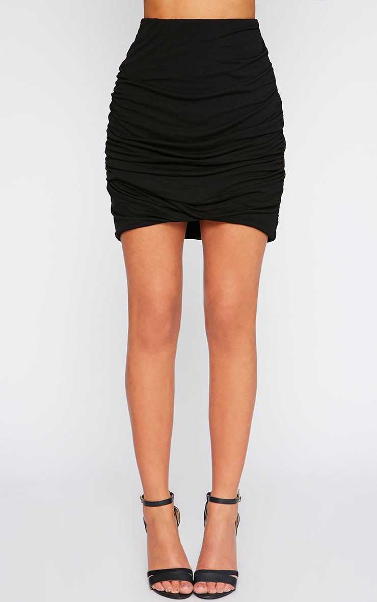 Black Jersey Ruched Mini Skirt  2