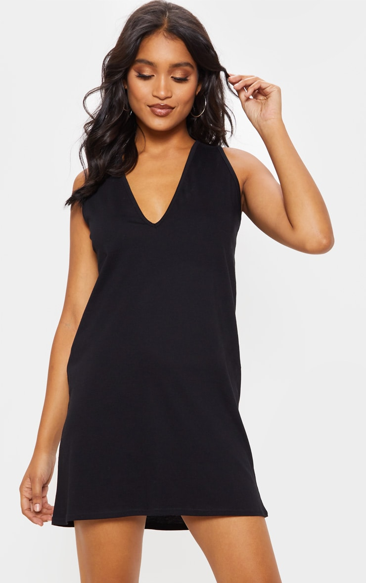 Black Deep V Sleeveless Shift Dress 4