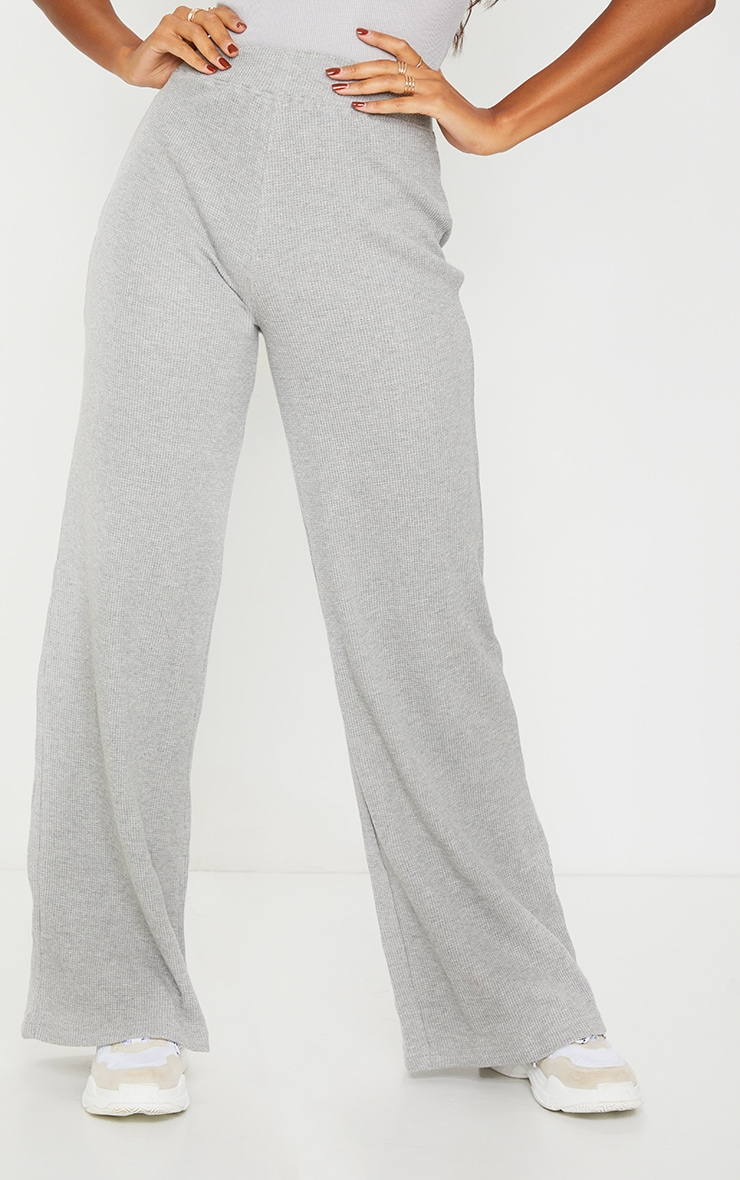 Grey Waffle Textured Wide Leg Trousers 2
