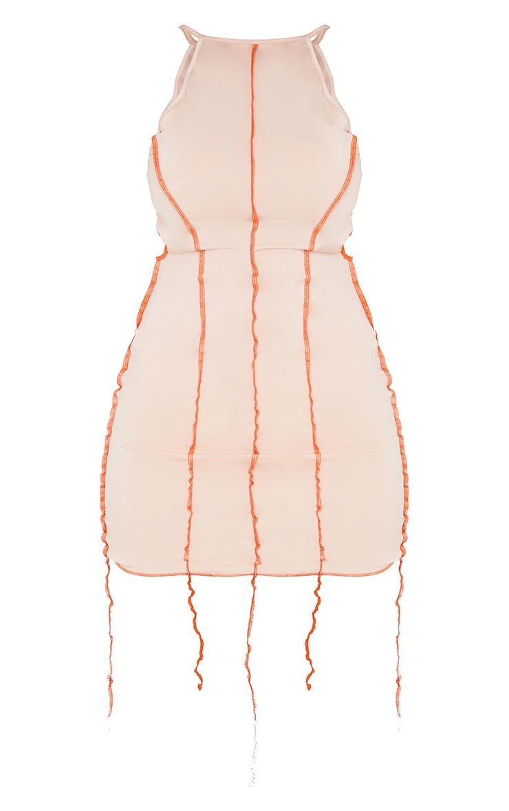 Nude Overlock Stitch Detail Halterneck Tie Back Bodycon Dress 5