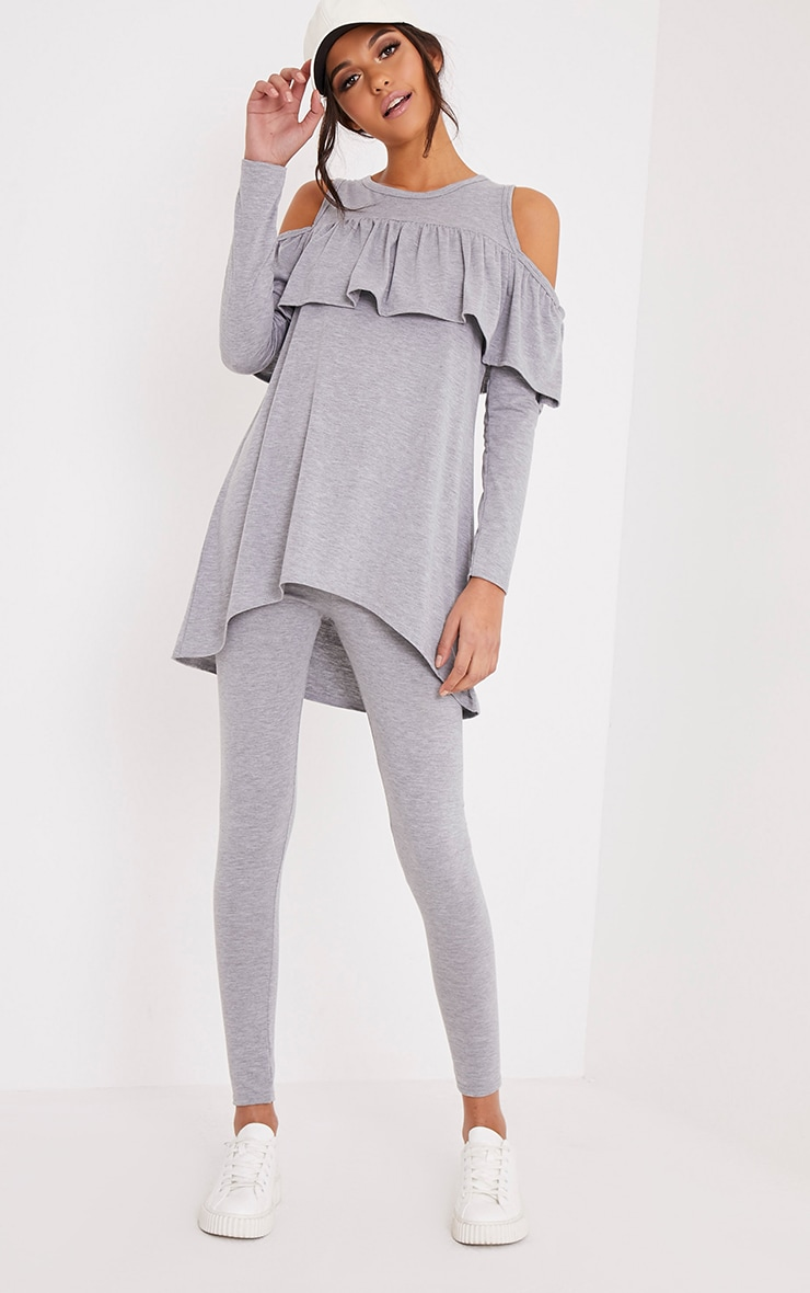 Lorelie Grey Cold Shoulder Frill top & Leggings Set 1
