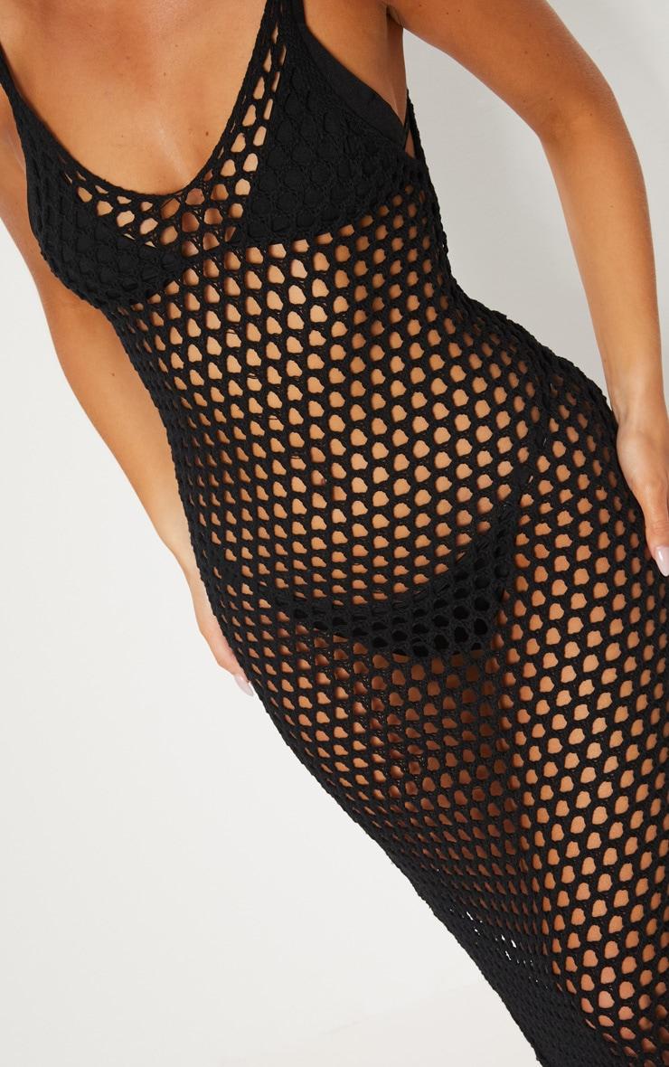 Black Crochet Open Knit Midi Dress 5