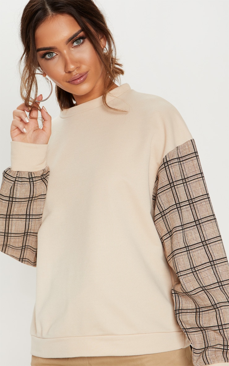 Sand Contrast Check Sleeve Sweater 5