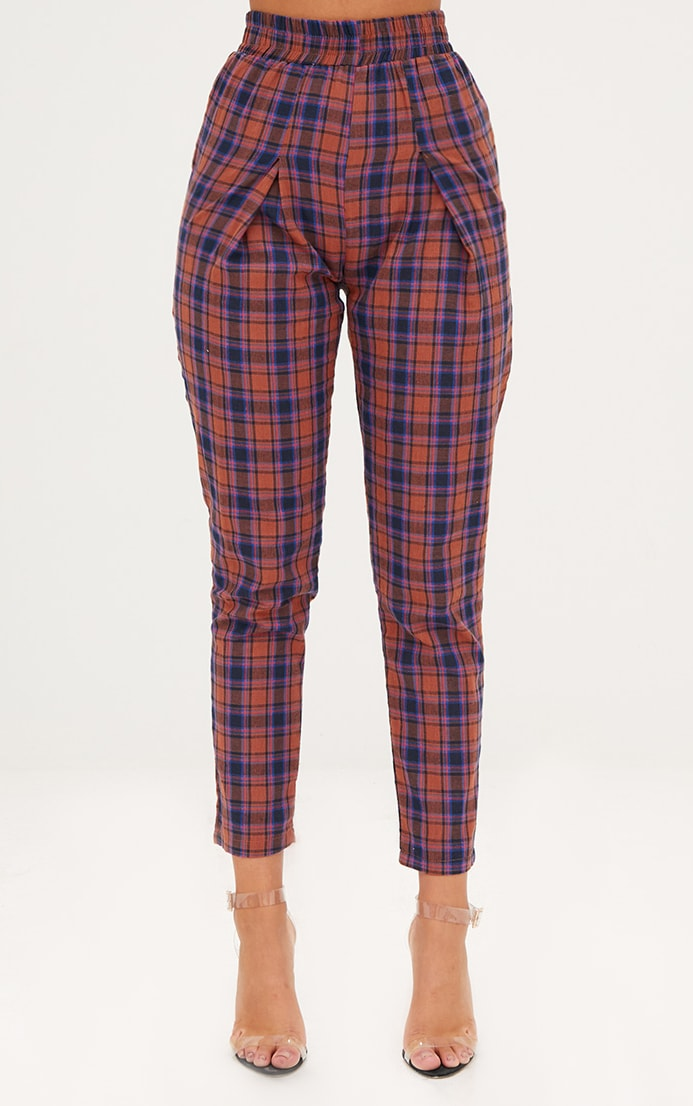 Rust Check Front Pleat Casual Trousers 2