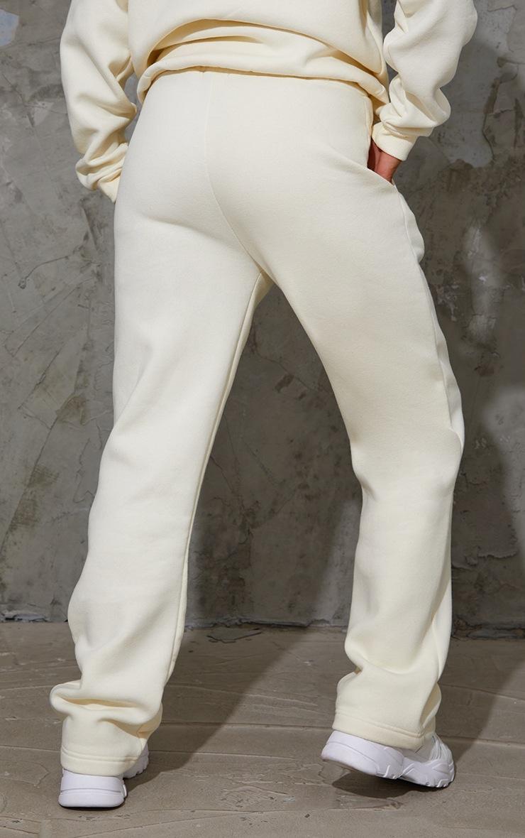 PRETTYLITTLETHING Cream Badge Detail Straight Leg Joggers 3