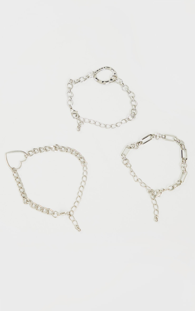 Silver Assorted Three Pack Anklets 2