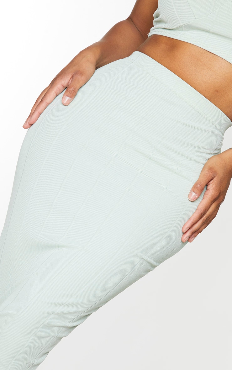 Shape Sage Khaki Bandage High Waist Midi Skirt 4