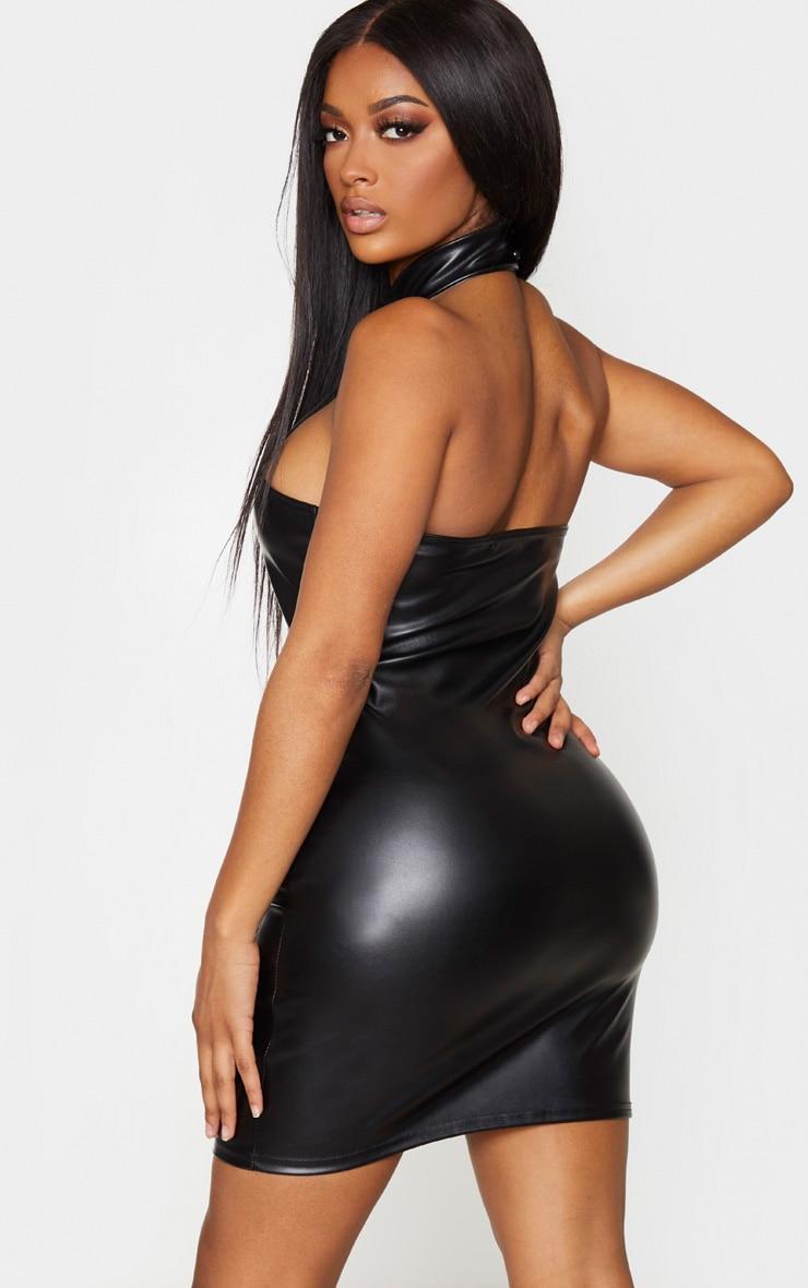 Shape Black PU Halterneck Cut Out Detail Bodycon Dress 2