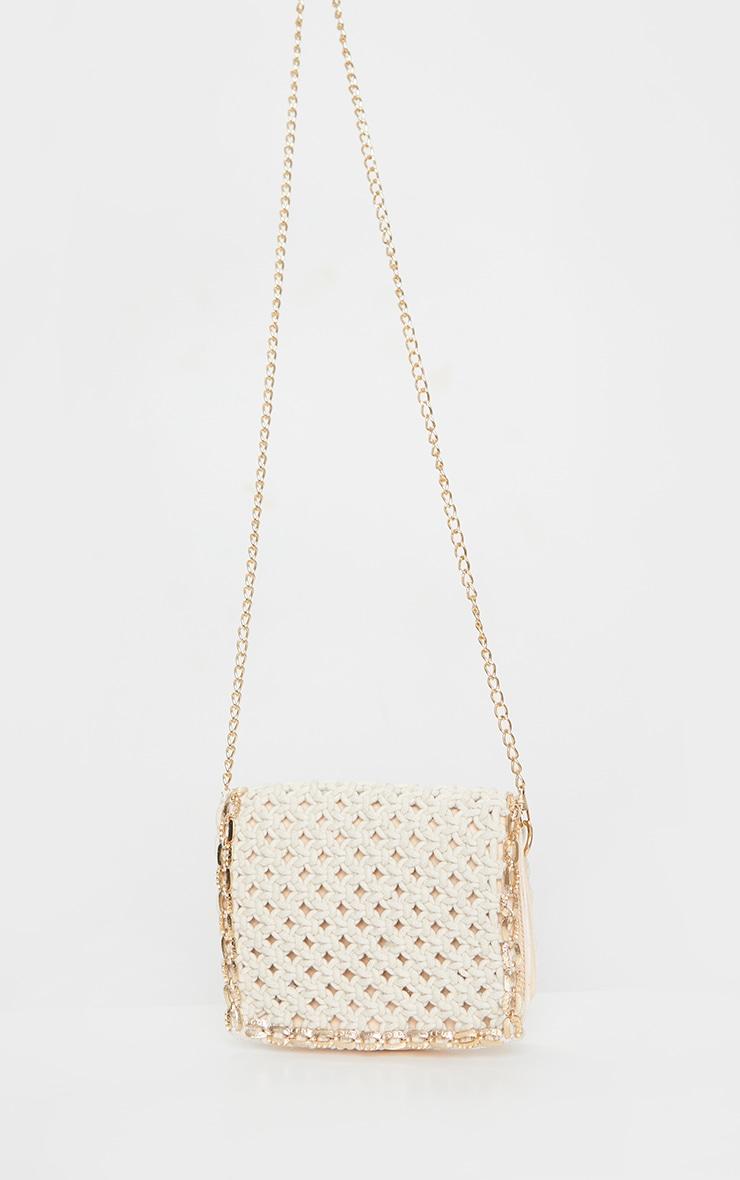 Cream Woven Gold Trim Cross Body Bag 2