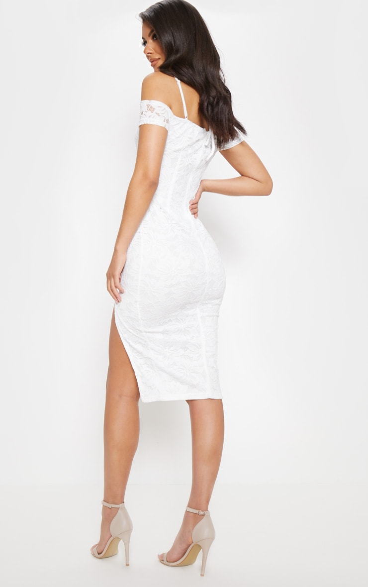 White Lace Ruched Cut Out Midi Dress 2