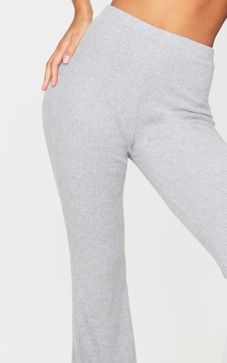Grey Brushed Rib High Waisted Flared Trouser 5