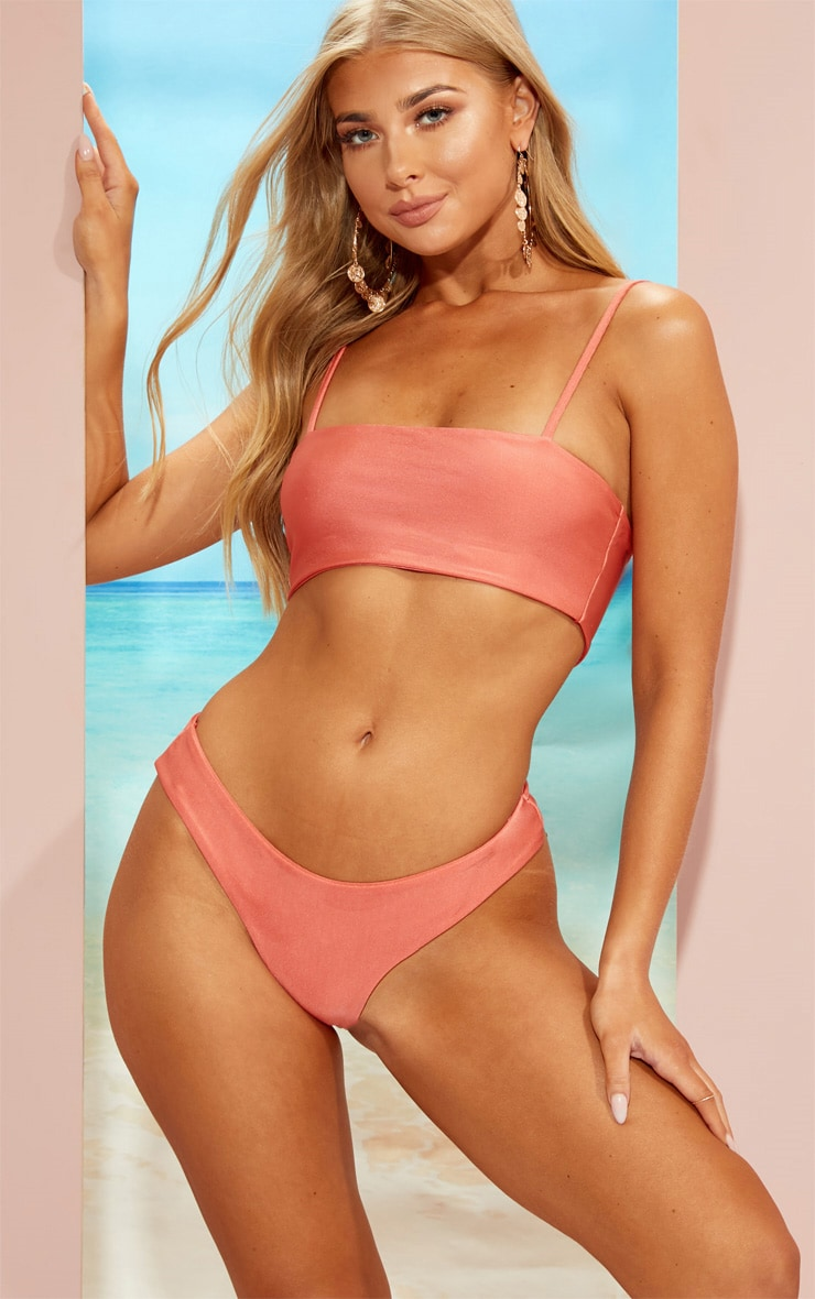 Coral Straight Neck Bikini Set 1