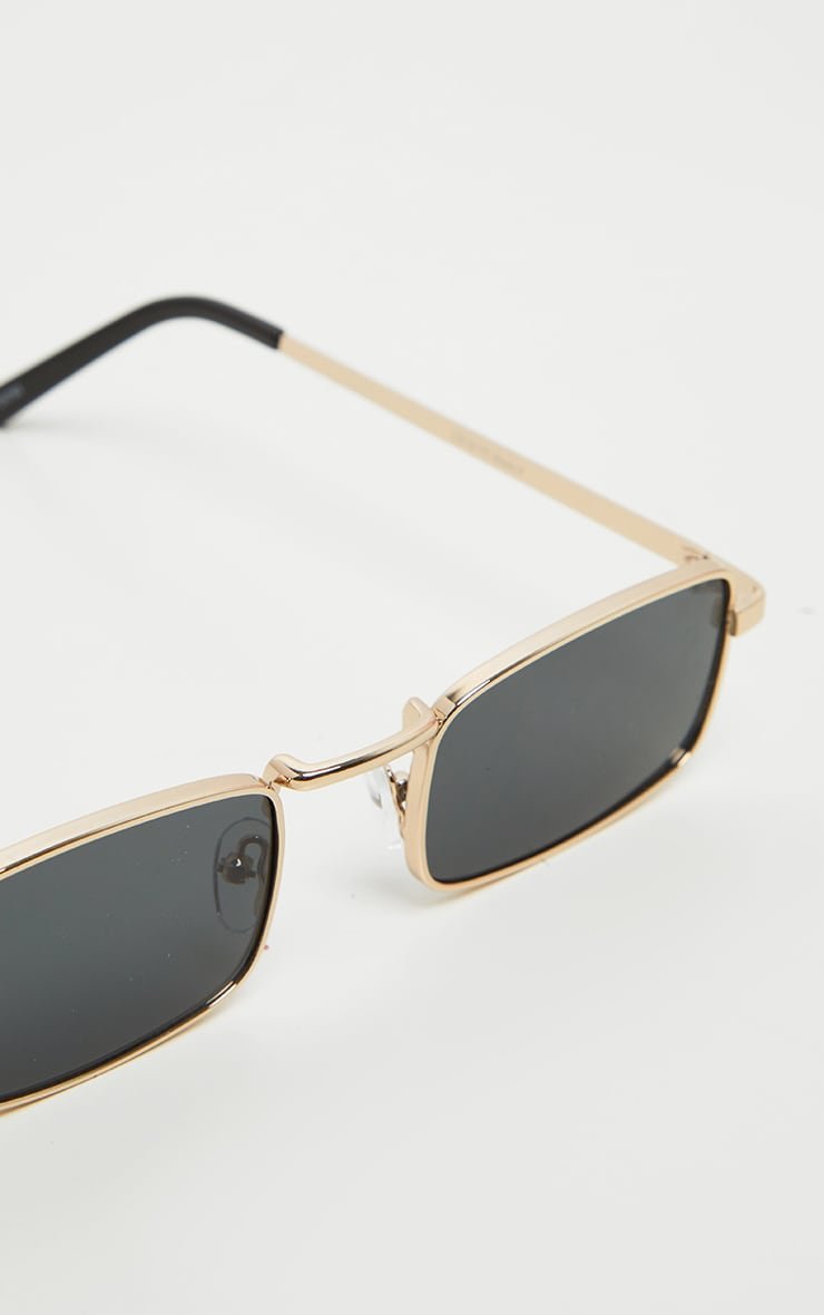 Gold Frame Black Lens Small Square Sunglasses 3