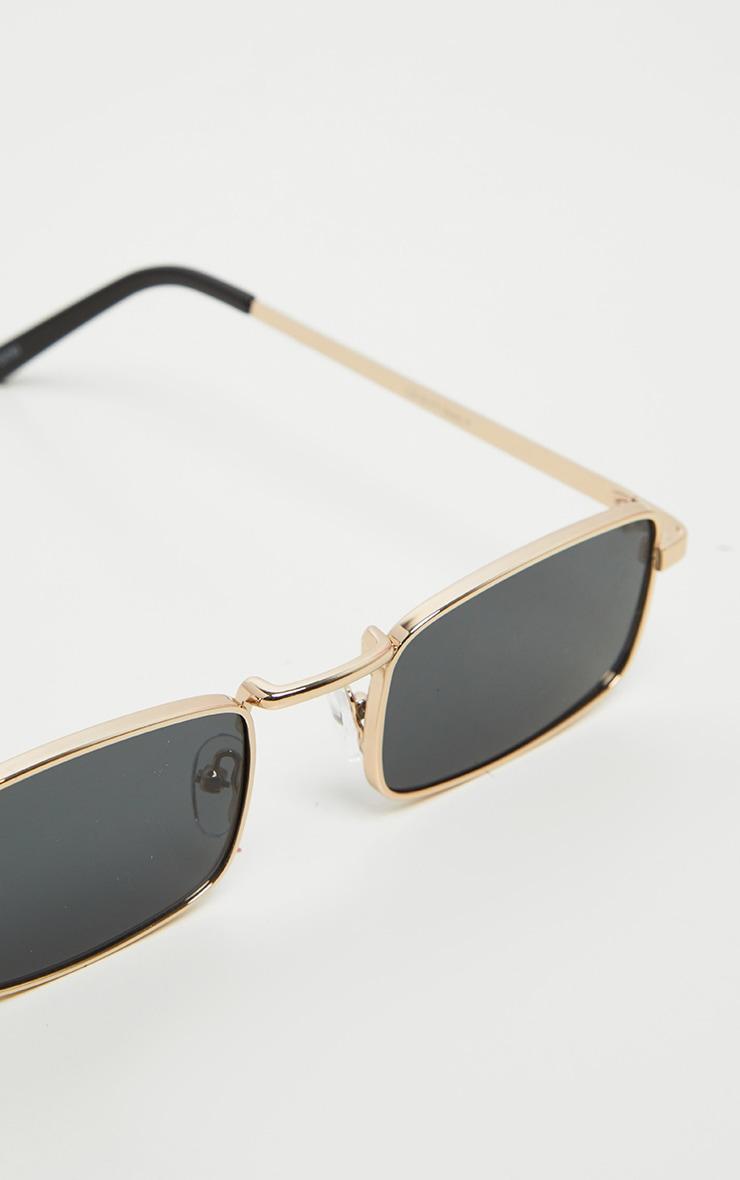 Gold Frame Black Lens Small Square Sunglasses 3