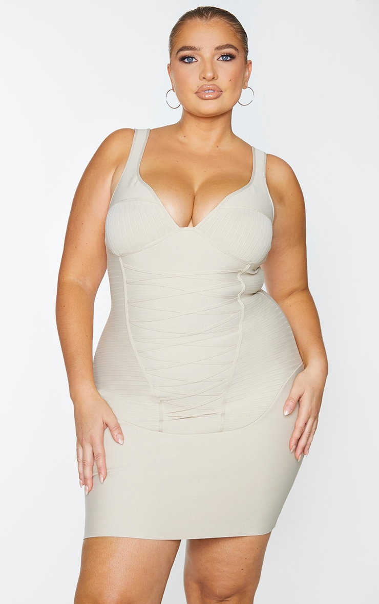 Plus Nude Bandage Corset Bodycon Dress 3