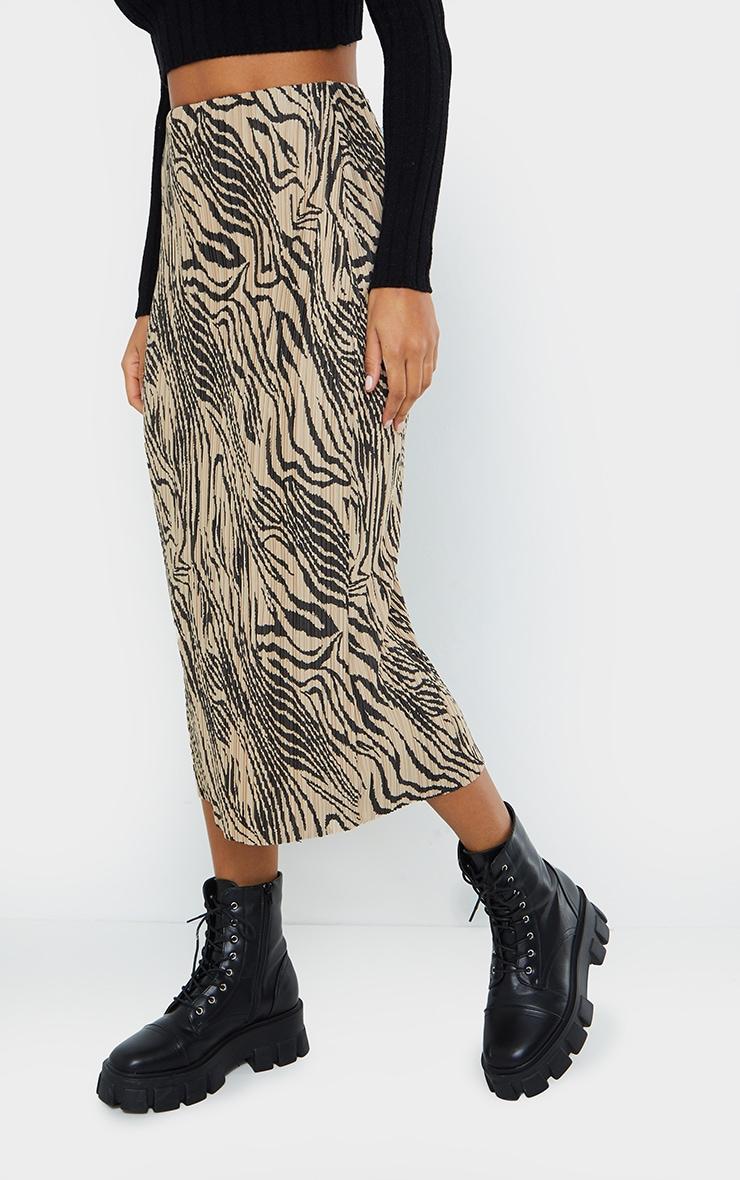 Zebra Print Plisse Printed Midi Skirt 2