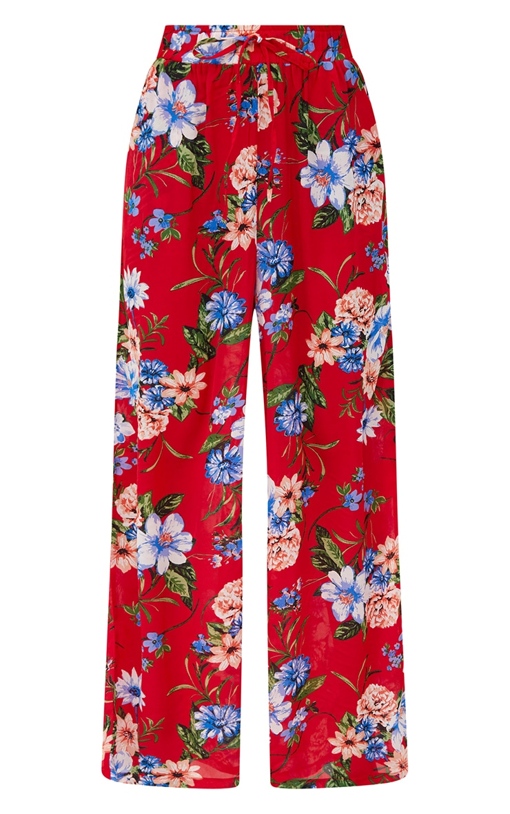 Red Floral Wide Leg Trousers 3