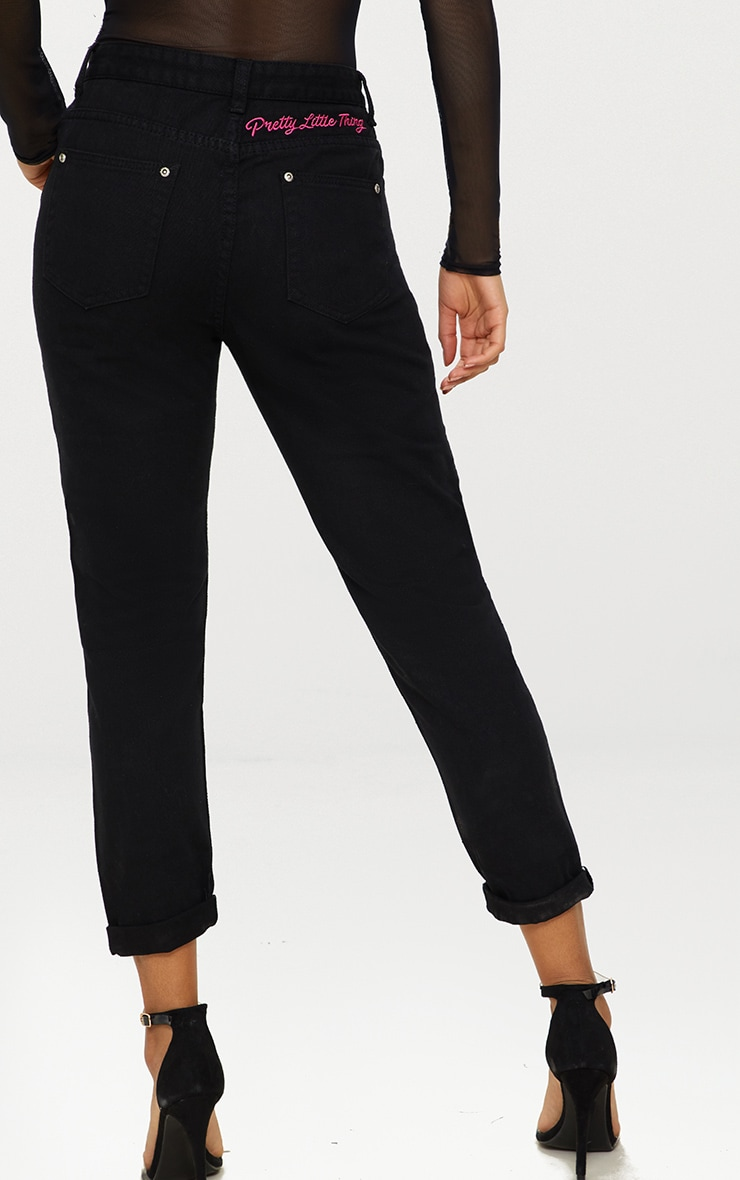 PRETTYLITTLETHING Black Embroidered Bum Mom Jean 1