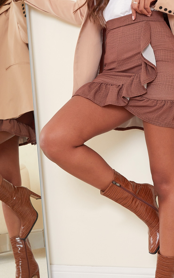 Chocolate Croc Frill Hem Wrap Mini Skirt 5
