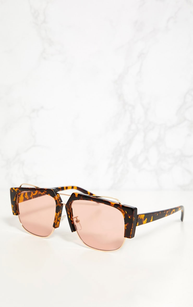 Tortoise Shell Slanted Sunglasses 3