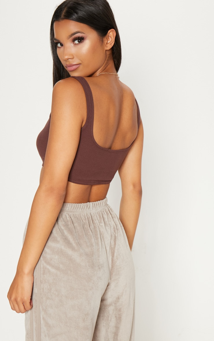 Brown Rib Extreme Square Neck Crop Top  2