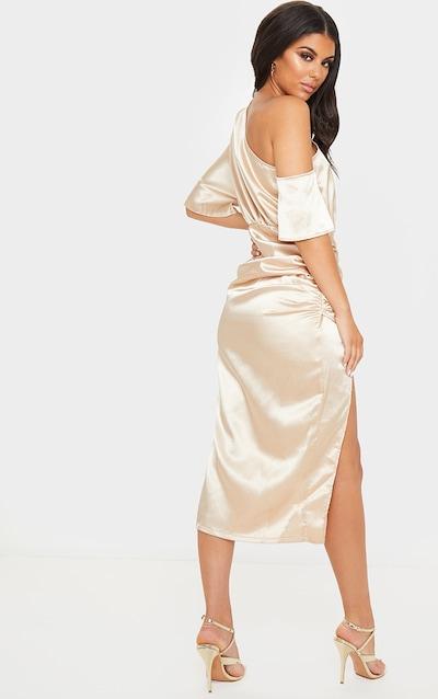 Champagne Satin One Shoulder Ruched Skirt Midi Dress