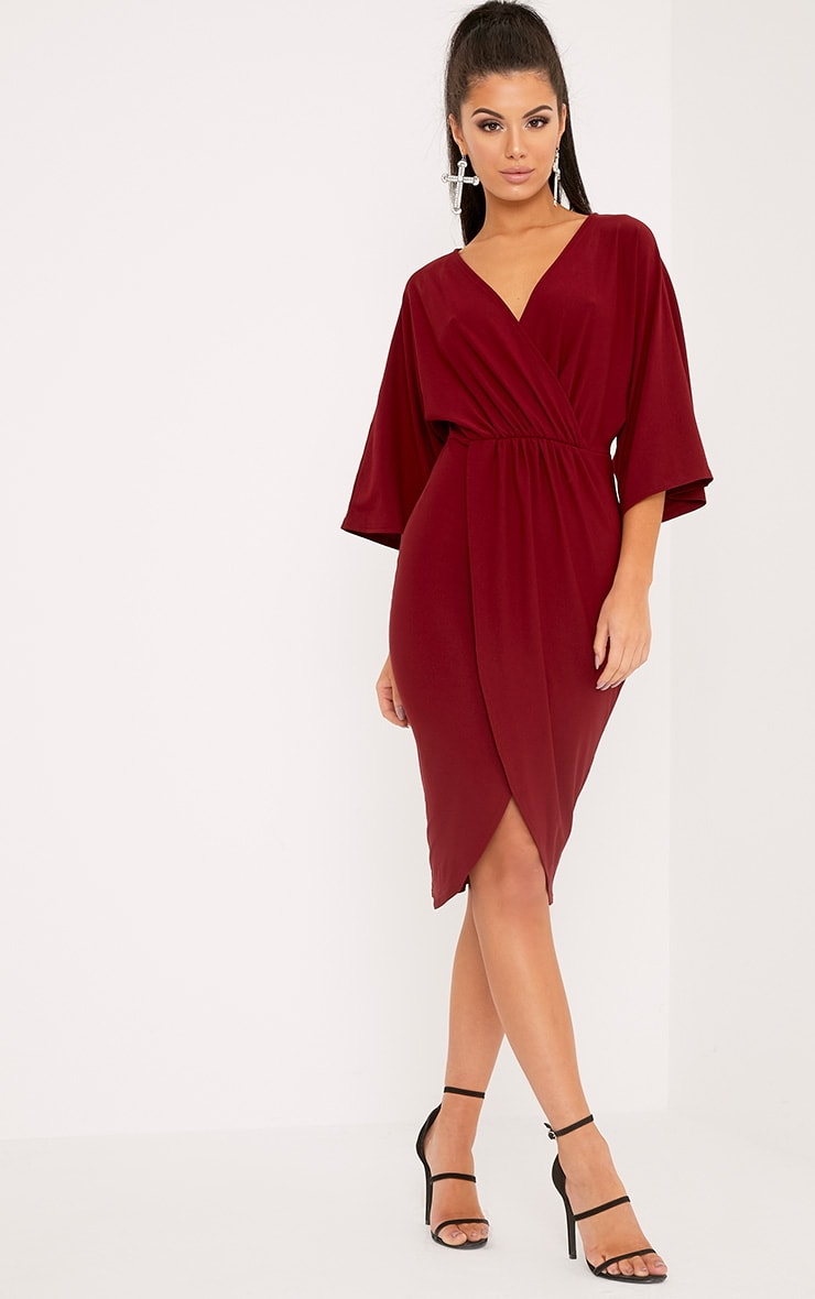Archer robe midi cape bordeaux 4