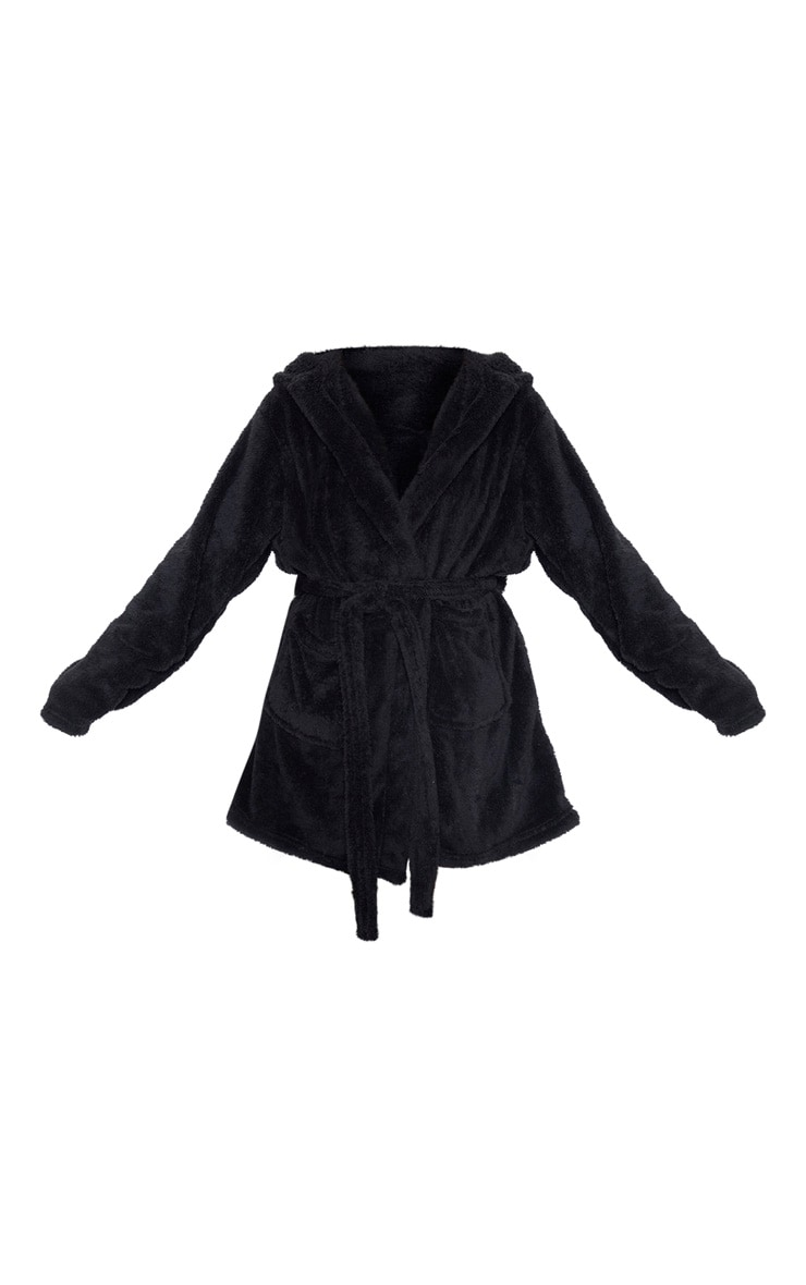PRETTYLITTLETHING Black Fluffy Dressing Gown 3