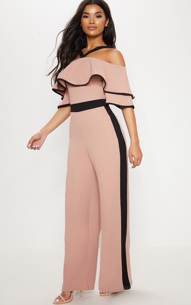 Dusky Pink Contrast Cold Shoulder Jumpsuit 1