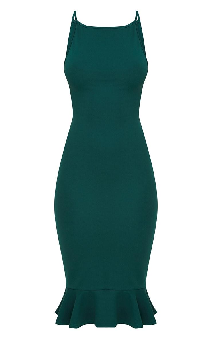 Forest Green Square Neck Frill Hem Midi Dress 3