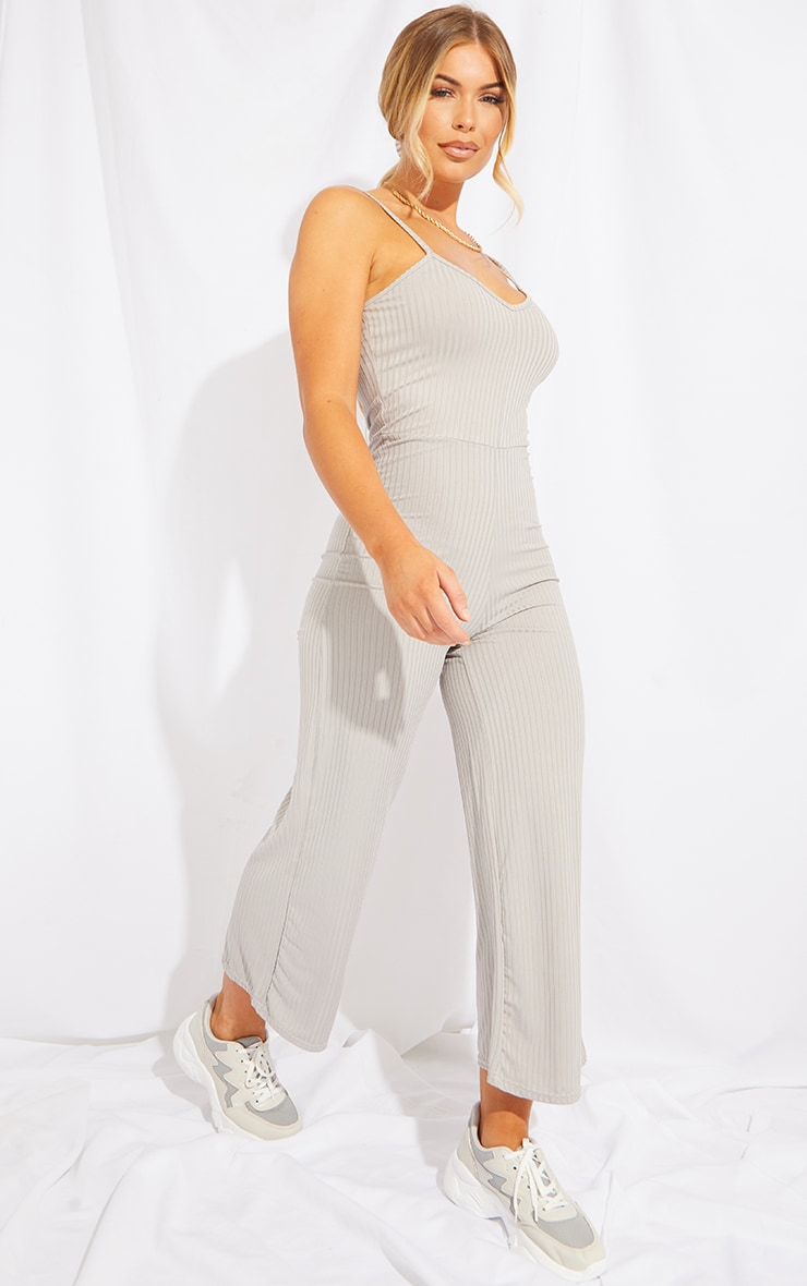 Black & Grey 2 Pack Ribbed Culotte Jumpsuit 3
