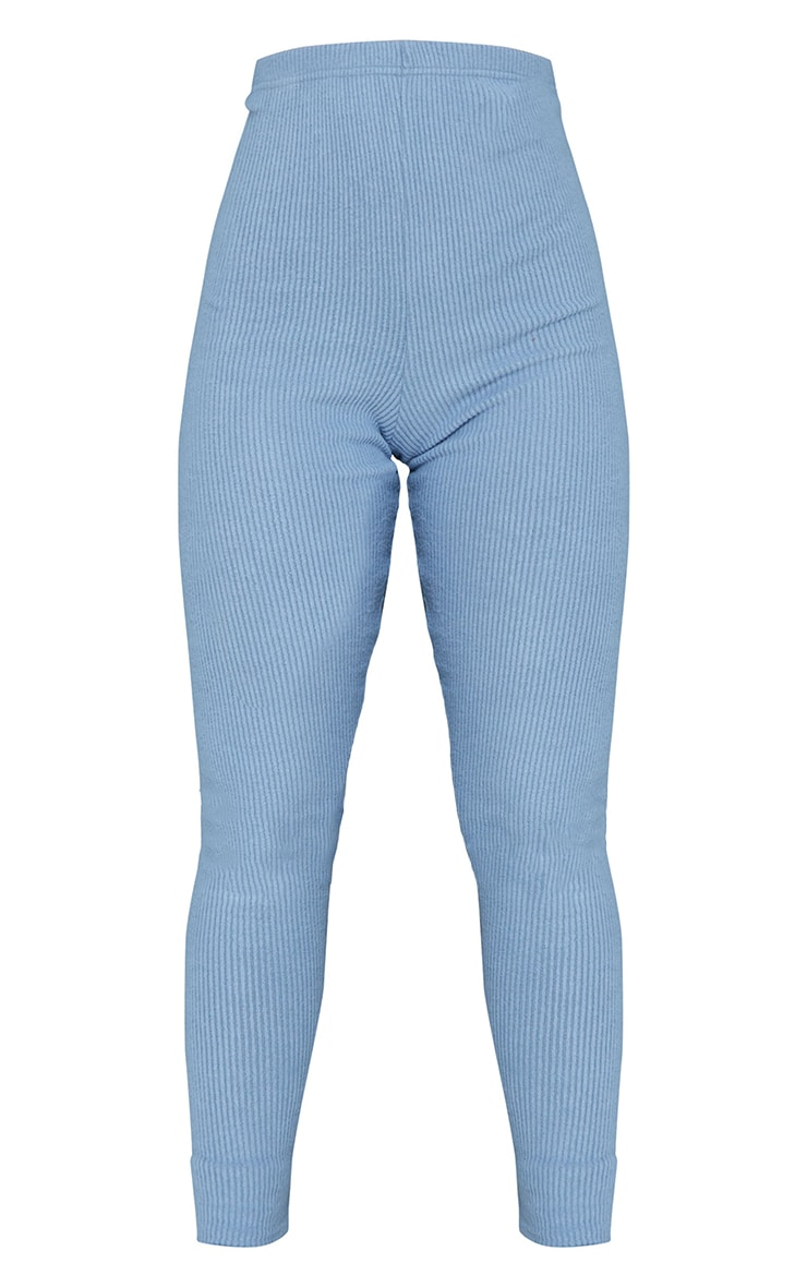Steel Blue Brushed Rib Leggings 5
