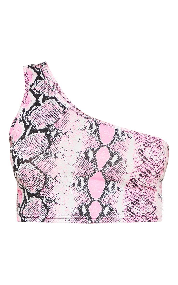 Pink Snake Printed One Shoulder Crop Top 3